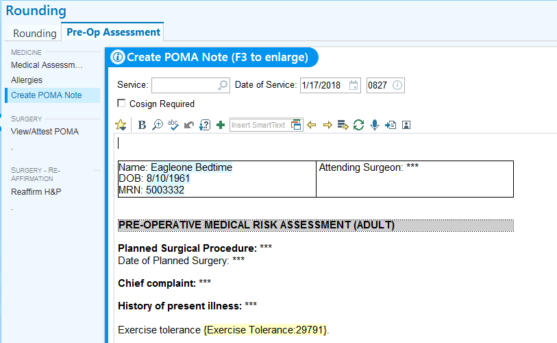 Pre-Op App - How to Create a New Inpatient POMA